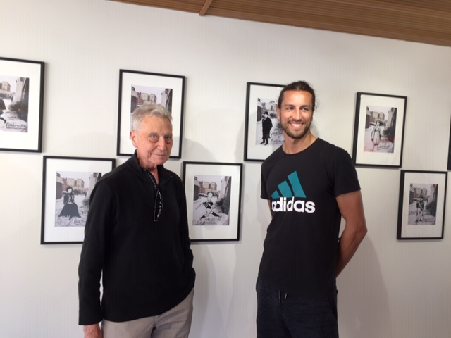 Derek was excited to meet Portsmouth footballer Christian Burgess