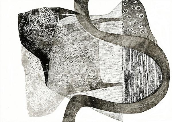 Tessa Holmes 'Cross Country 3' collograph & relief