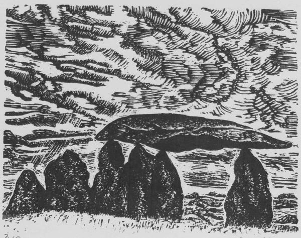 Eleanor Durbin 'Pentre Ifan - Pembrokeshire' wood engraving