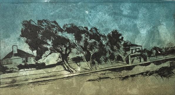 Emily Limna 'Breezy Trees' drypoint