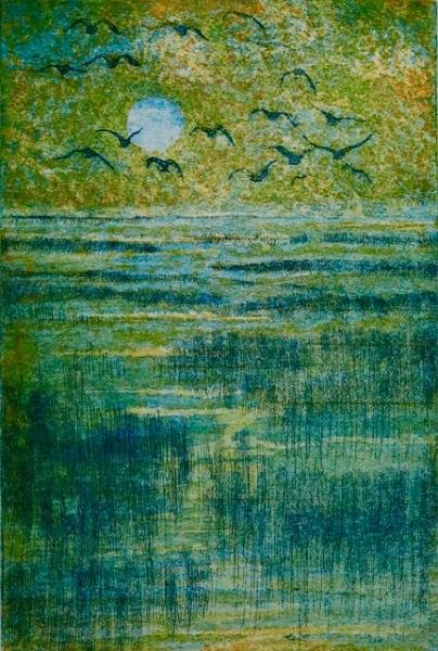 Gloria Holden 'Last Flight Home' etching & aquatint