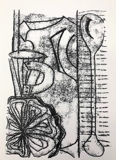 Jackie Baxter 'From Cup to Lip' trace monoprint