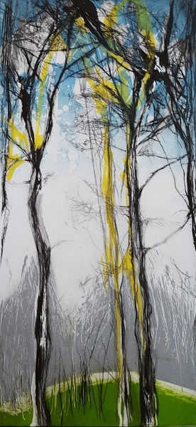 Claire Grossman 'Transcendence of the Pines' monotype etching