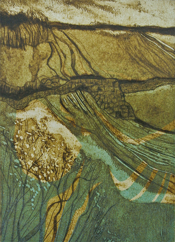 Helen Baines 'Winds in the East' collograph