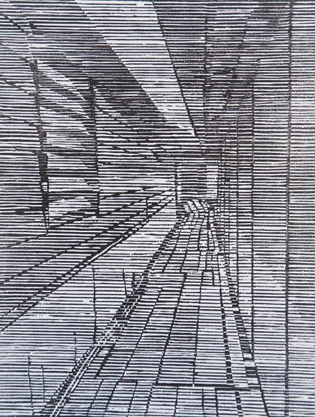 Irene Riley 'Jetty Passage' woodcut