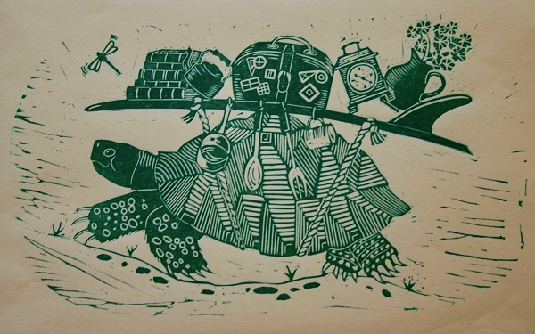 Kate Willows 'Moving On' Linocut