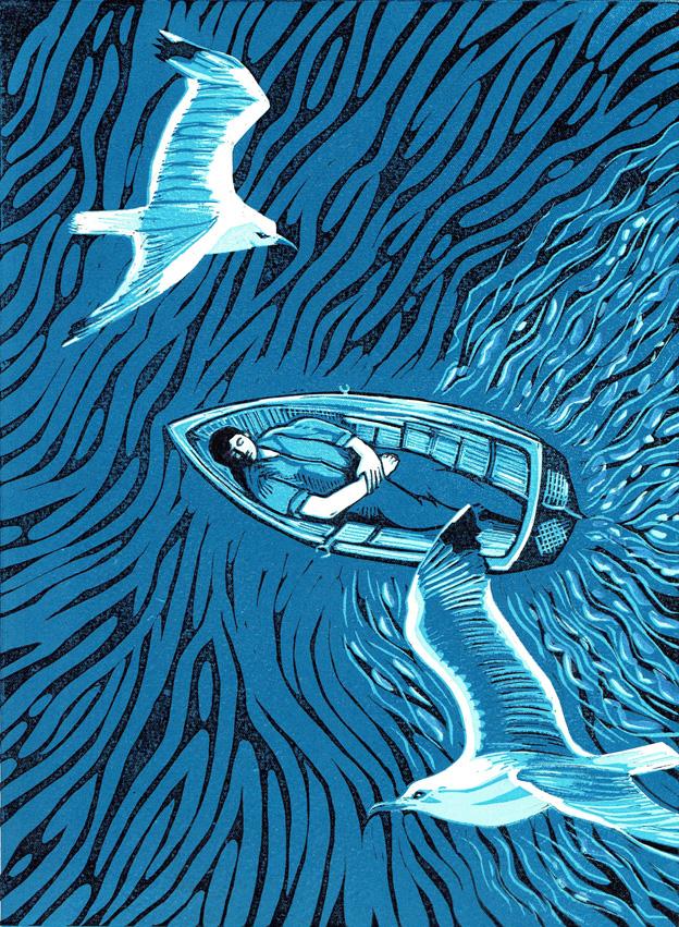 Kit Boyd 'The Dreamer' reduction linocut