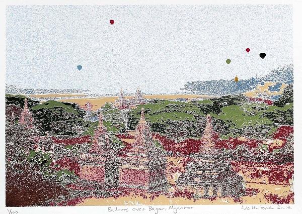 Liz Whiteman Smith ' Balloons over Baegan - Myanmar' screenprint