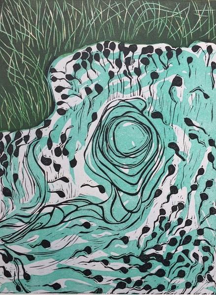 Lucie Green 'Tadpoles 2' linocut