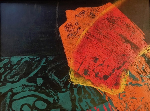 Marilyn Simler 'Perilous Journey 2' mixed media monoprint