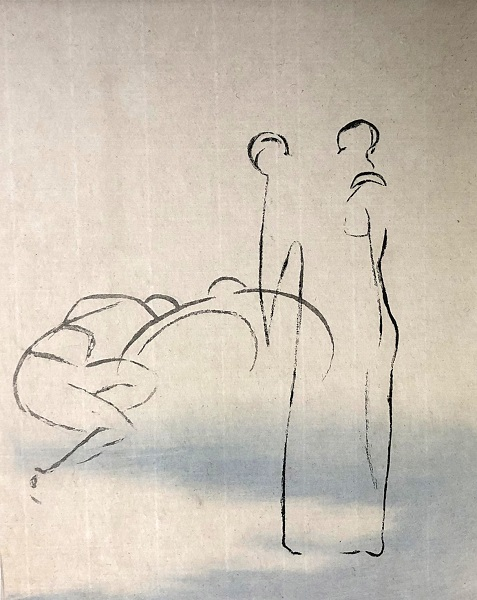 Sally Mackay 'My Sister' sugar lift etching & chine collee