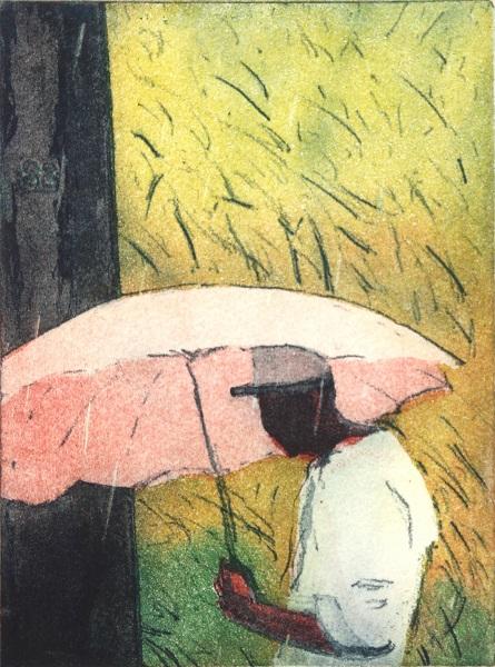Robert Pugh 'Pink Umbrella' 3 plate etching