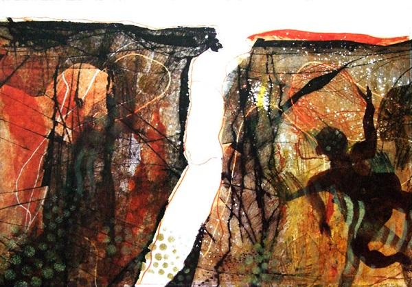 Ruth Barrett-Danes 'Look forward' monoprint & drypoint
