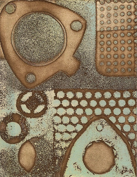 Sarah Mander 'fabrication Brown' etching