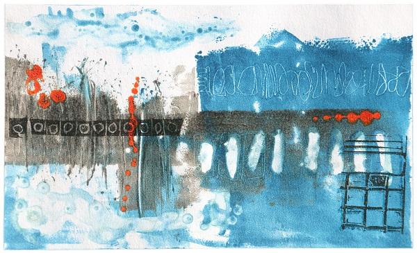 Sarah Russell 'Final Crossing' monotype & linocut