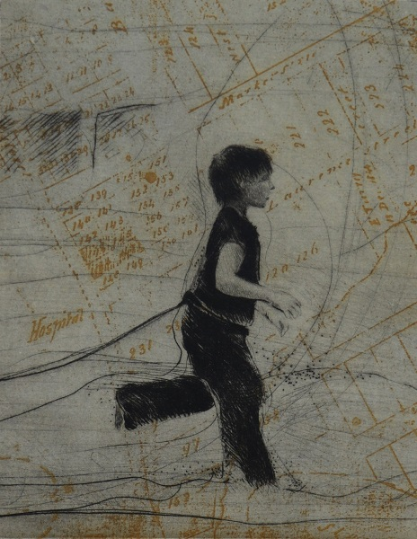 Tammy Mackay 'Come Home' drypoint & chine collee