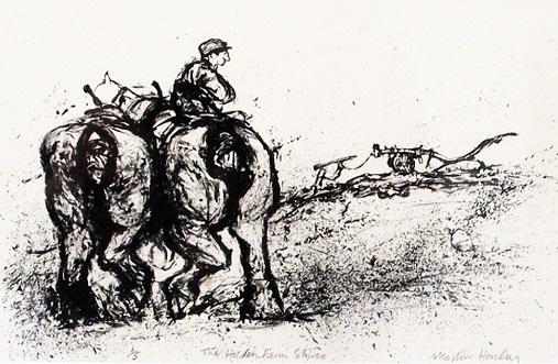 Martin Henley 'The Holden Farm Shires' lithograph