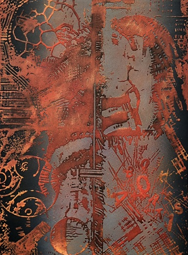 Sumi Perera 'Transition I' emboss etching with chine collee