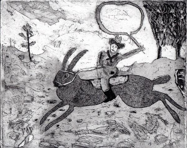 Trevor Dance 'The Hare Cowboy Rides Again' aquatint