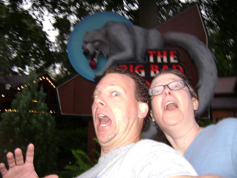 Theo & Adele Gardner, terrified at Busch Gardens Photo by Theo Gardner