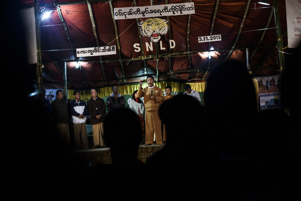 One Leng gives a speech before a concert featuring Shan musicians. He was visibly angry when he went off-script to discuss villagers caught in the middle of Shan-Army fighting that saw elections cancelled in parts of the state.