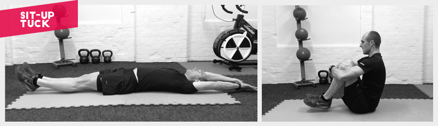 Really dynamic core exercise.From lying flat on your back and fully stretching out, to grabbing your knees as tight as possible, try keeping your feet off the floor for added difficulty.