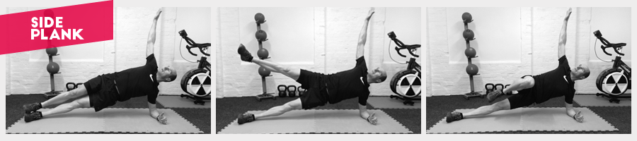 Work hard to keep your hips in-line and if comfortable add a scissor leg lift or a knee lift to work the hip flexors.