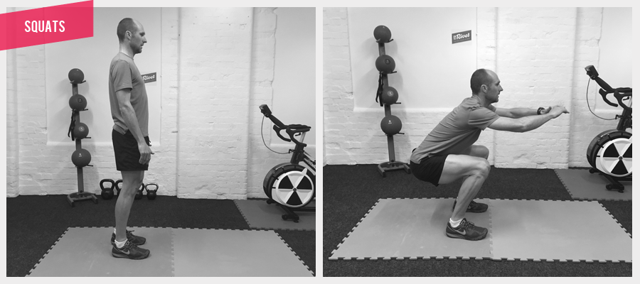 SQUATS Essential exercise for building strength in the quads and glutes. Take care not to have the knee fall any further forward than the toes. When you are in the low position, you should be able to wiggle your toes.