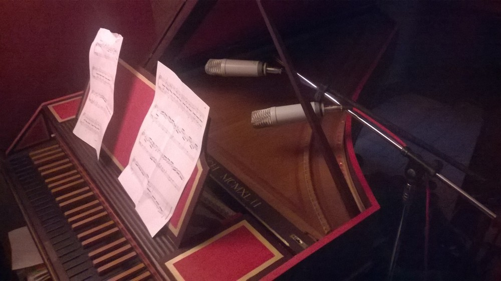 Recording session using our 1942 John Reynolds Catch Harpsichord