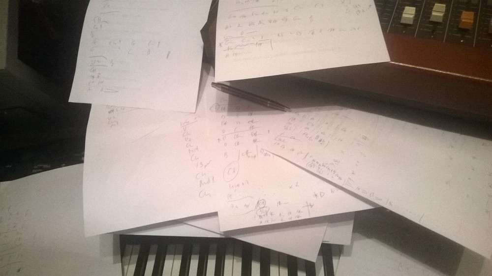 Bespoke Piano Reocording - A productive day at Vintage Keys - my crib notes for 7 pieces of music - using my mind, ears and a bit of pianistic license. Who needs sheet music eh?