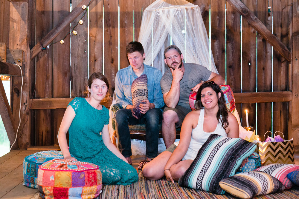 Evan and I on the left, Renee and Derek of Forget Me Not Vintage Rentals at our recent shoot.