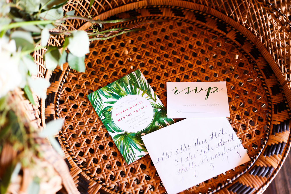 Fun Tropical Invite. Calligraphy by Flourish Grace, Photo by Photography by Seneca