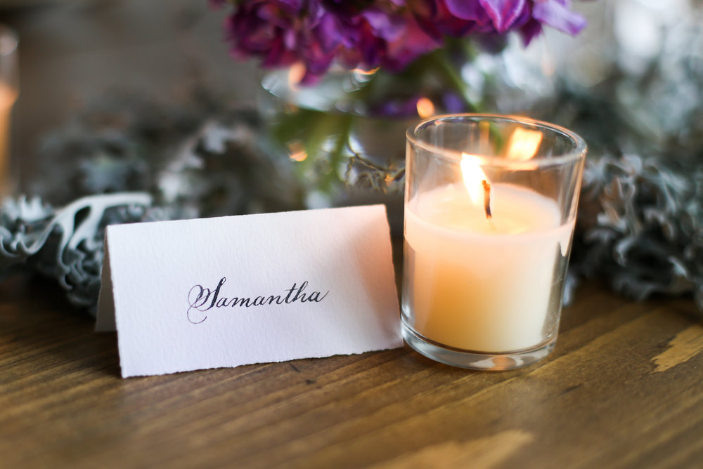 Love this name card by Flourish Grace Calligraphy! Adds a personal touch to the table.