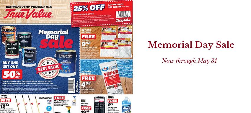 Memorial Day Sale at Cornell's True Value Hardware
