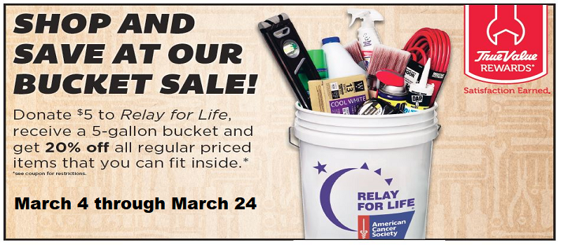 Relay For Life Bucket Sale