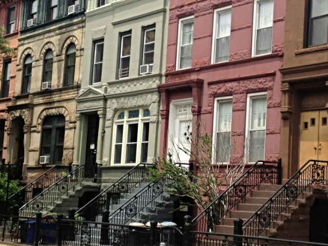 "Jefferson Avenue in Bedford-Stuyvesant, Brooklyn.  We lived in building painted green, in the top apartment, once the ""maid's quarters.""  Six hundred square feet, $1700 a month, two rooms."