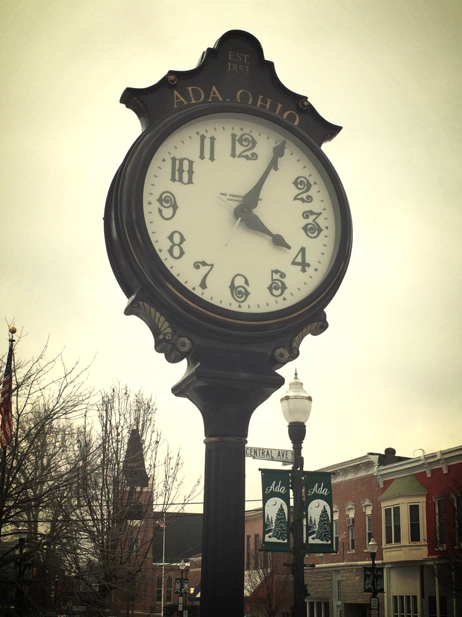 The clock in the town center, near the train depot that put Ada on the map. It actually tells time.