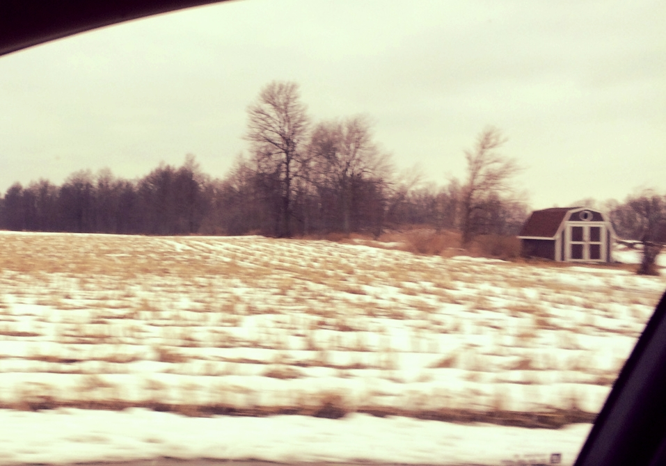Drive-by of snow-covered fields along Route 235.