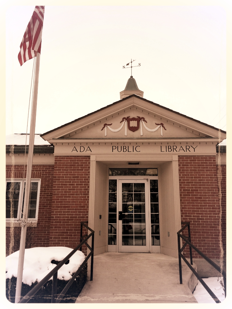 The friendly confines of the Ada Public Library, just a short walk from my house. Come to think of it, most places in Ada are just a short walk from my house.