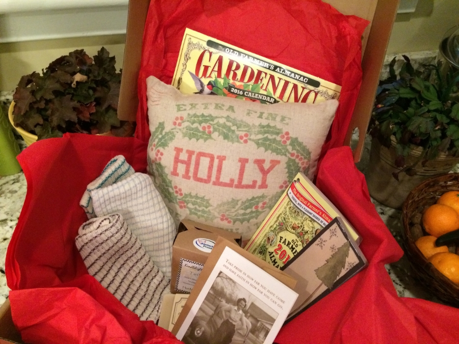 Dish towels, scented melting wax, a pillow, a calendar and a Farmers Almanac, a favorite childhood read of mine, were part of a housewarming package from Guideposts reader Evelyn Givens. Thanks, Evelyn!