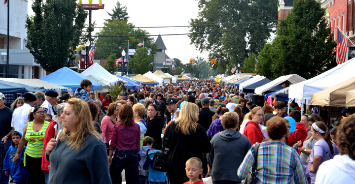 Main Street overflows with participants in the 2013 Harvest & Herb Festival. Photo courtesy Fred Steiner/Ada Icon.