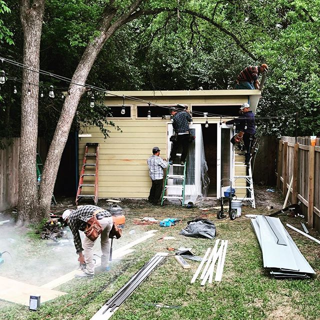 """Our backyard """"shed"""" is almost done! #shedparty"""