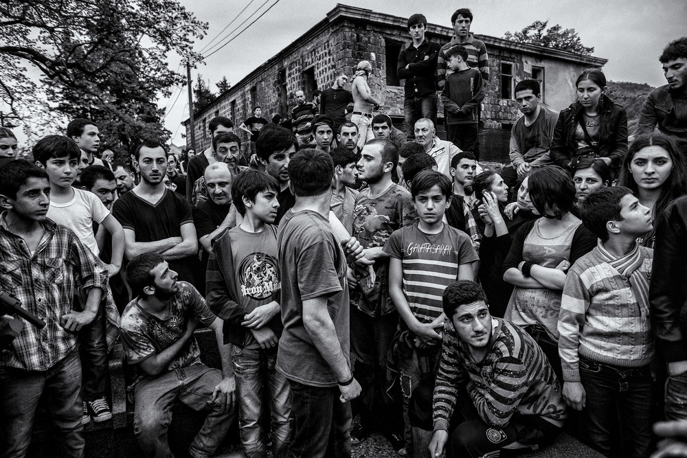 The most important aspect of the Lelo Burti game is to participate. Seen as a way to celebrate Easter, this game and its brutality are seen as a way to separate men and children. Shukhuti, Georgia, April 2014.