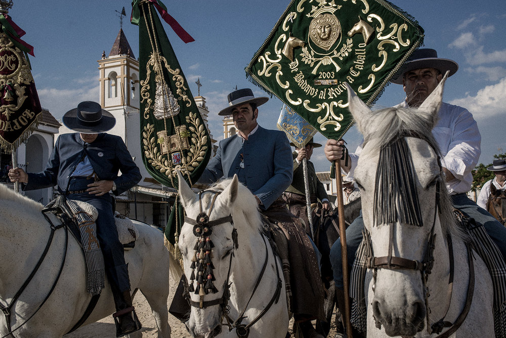 The Badajoz's brotherhood did an almost 200 km journey to town. Some start the procession one or two weeks before the Pentecost Sunday. Apart from Spain, there is also El Rocío brotherhoods in Brasil, Argentina or Australia. El Rocío, Spain, May 2015.