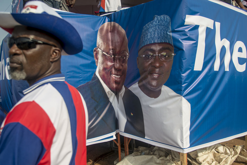 A banner of  Nana Akufo-Addo and Mahamudu Bawumia of NPP in Accra. Main candidate and vice-president candidate for the December 7th General Ghanaian Election