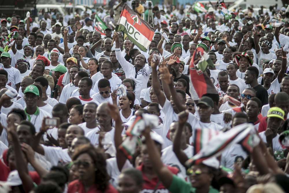 John Dramani Mahama's NDC supporters during a rally in Tema town Accra