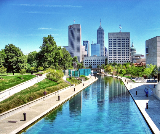 Indianapolis on the canal in the summer time.