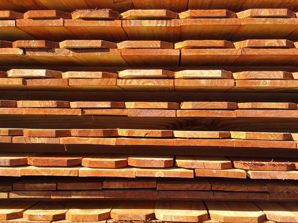 Stacked Wood Fence