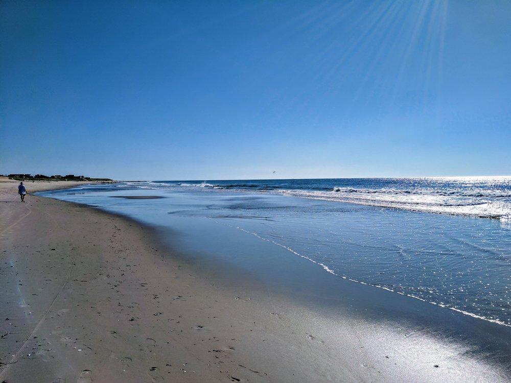 Walking along the low tide