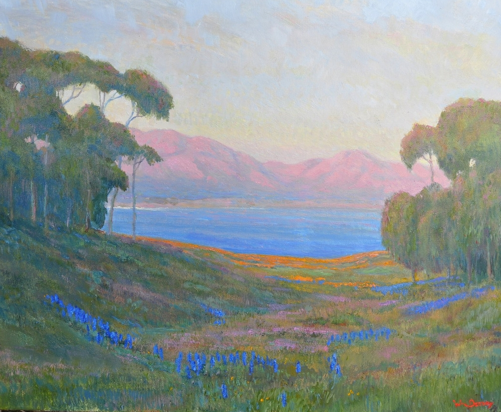 """Tajiguas Meadow, oil on canvas 24"""" x 30"""" Refreshing California landscape painting featuringeucalyptus trees, poppies and lupins. With coastal and mountain views."""